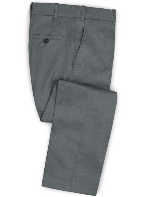 Gray Feather Cotton Canvas Stretch Pants