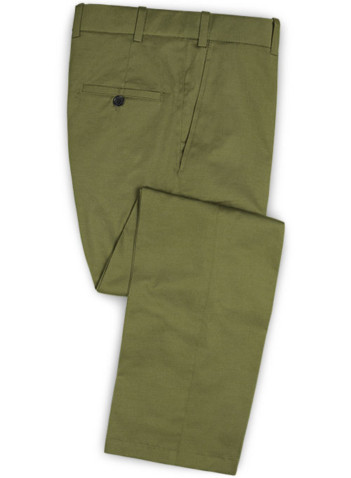 Green Feather Cotton Canvas Stretch Pants