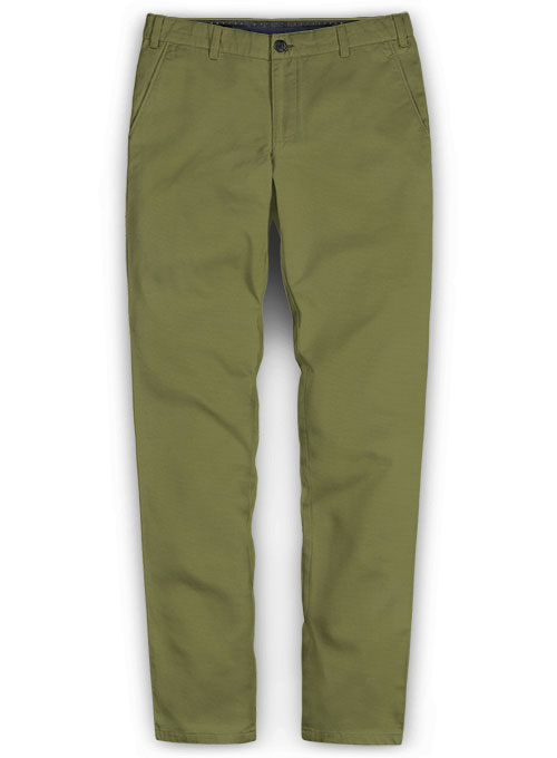 Green Feather Cotton Canvas Stretch Chino Pants