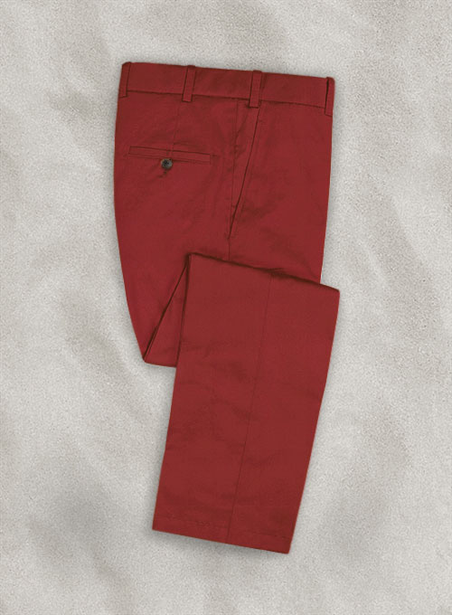 Italian Gimson Red Cotton Stretch Pants