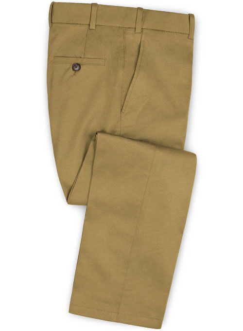 Khaki Feather Cotton Canvas Stretch Pants