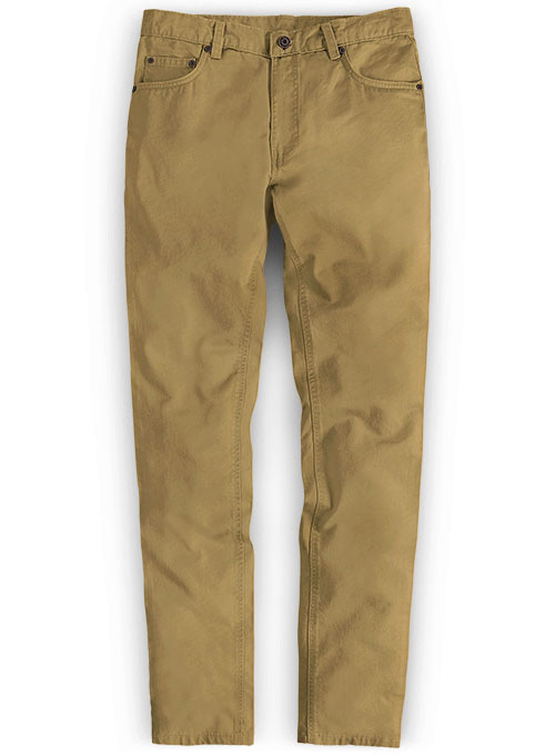 Khaki Feather Cotton Canvas Stretch Jeans