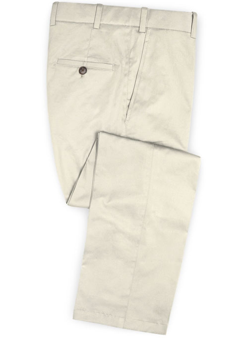 Light Beige Feather Cotton Canvas Stretch Pants