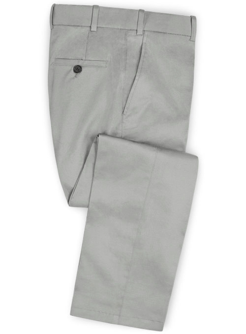 Light Gray Feather Cotton Canvas Stretch Pants