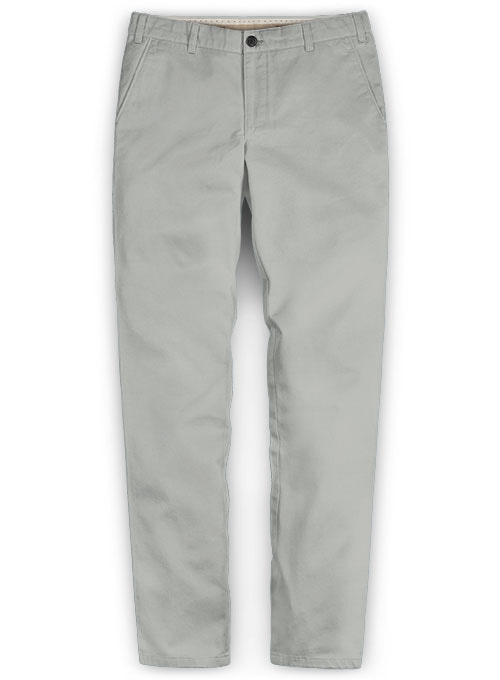 Light Gray Feather Cotton Canvas Stretch Chino Pants