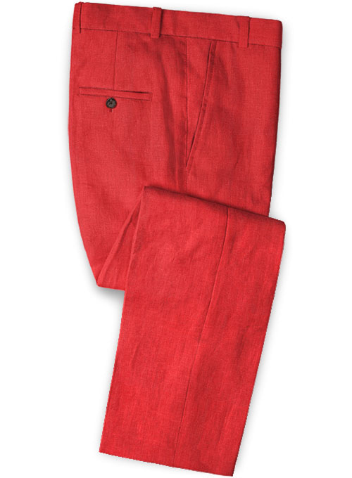 Pure Red Linen Pants