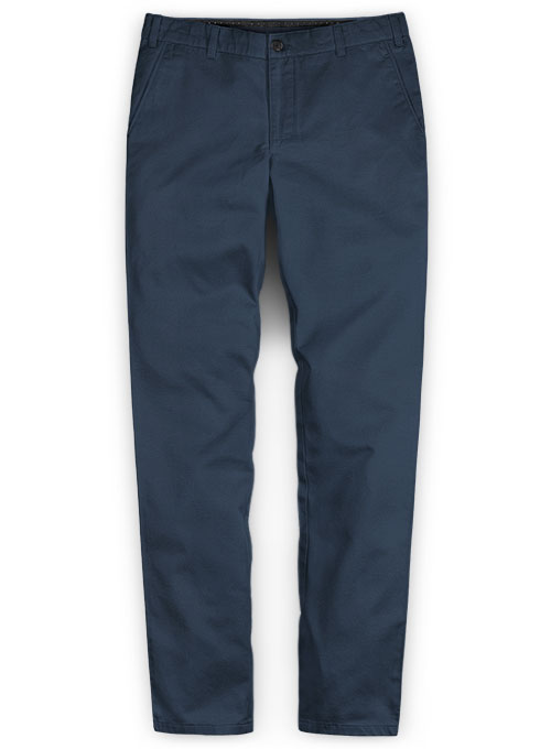 Royal Blue Feather Cotton Canvas Stretch Chino Pants