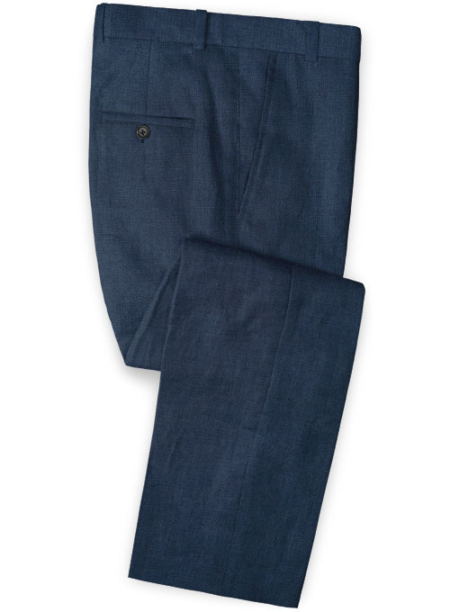 Safari Blue Cotton Linen Pants