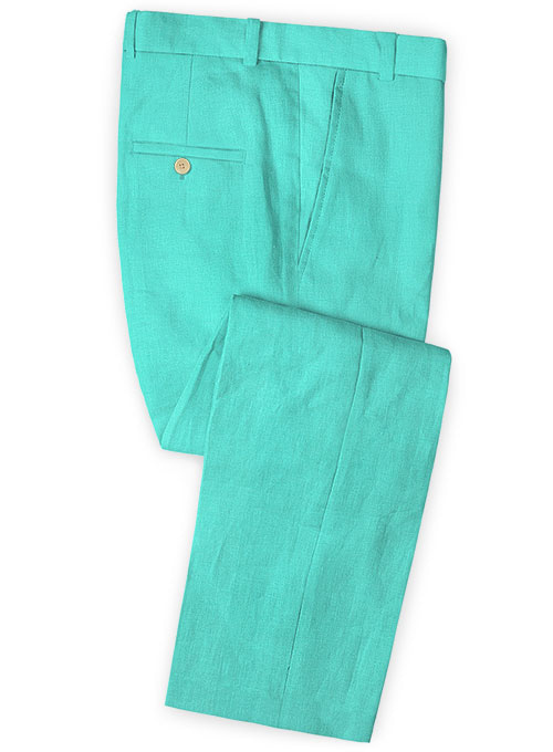 Safari Teal Blue Cotton Linen Pants