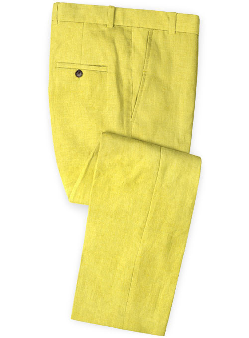 Safari Yellow Cotton Linen Pants