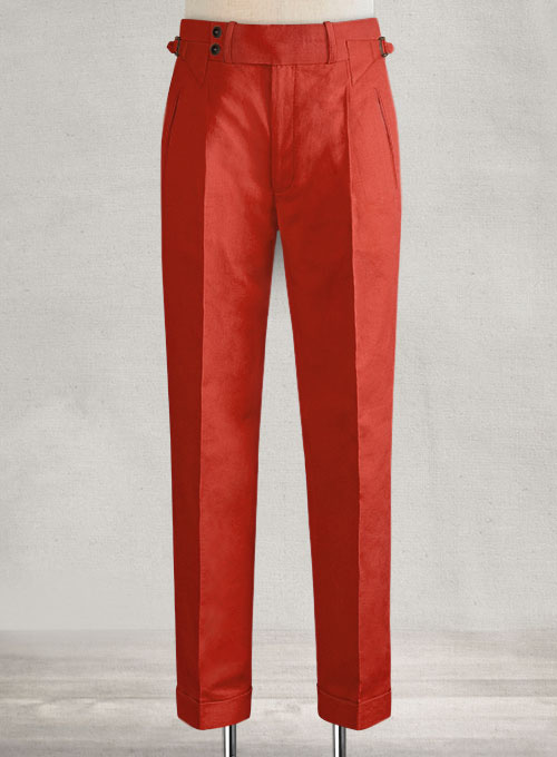 Safari Red Cotton Linen Heritage Trousers