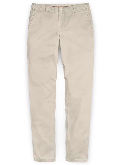 Beige Stretch Chino Pants