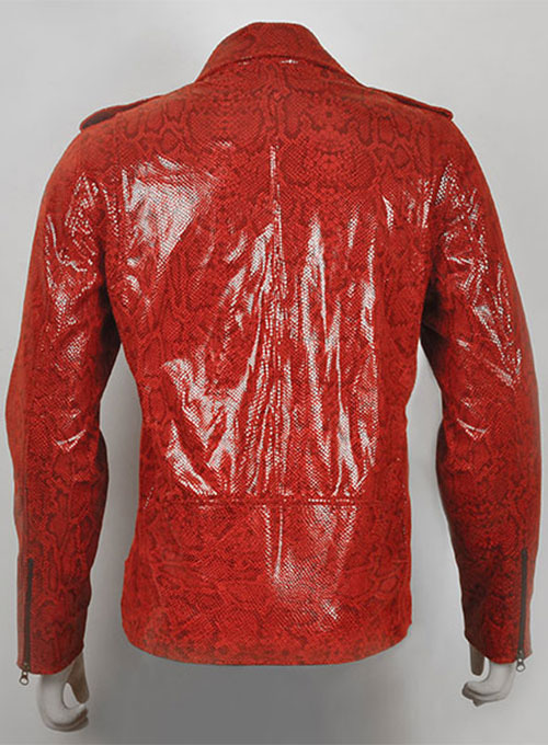 Shiny Red Python  Leather Biker Jacket # 2