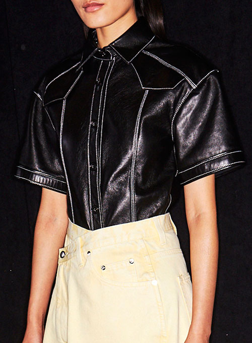 Leather Shirt Half Sleeves #3