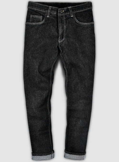 Kato Black Stretch Denim X Wash Jeans