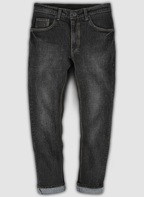 Kato Black Stretch Indigo Wash Whisker Jeans