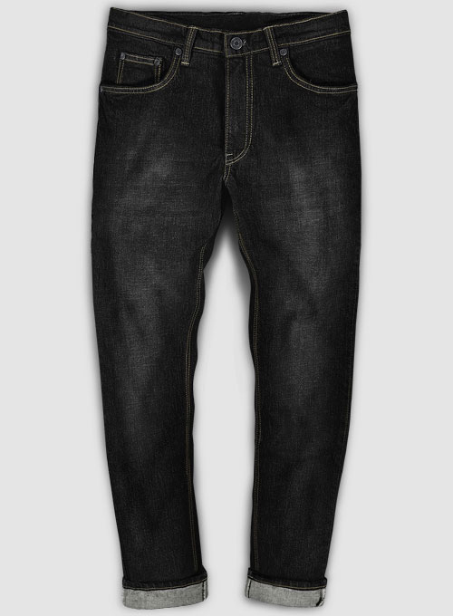 Kato Black Stretch Hard Wash Whisker Jeans