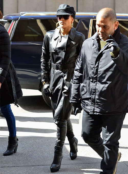 Jennifer Lopez Hustlers Leather Trench Coat
