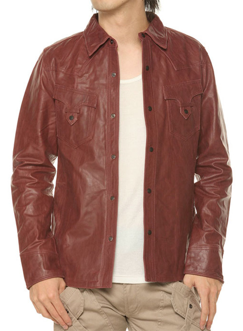 Leather Shirt Jacket #129