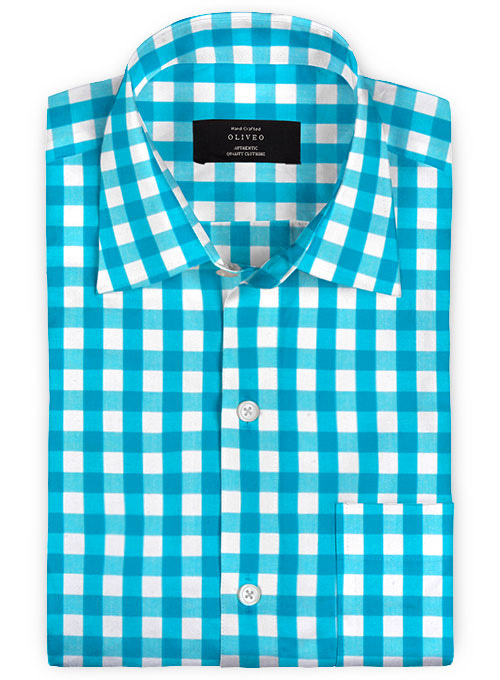 Giza Perto Blue Cotton Shirt - Full Sleeves