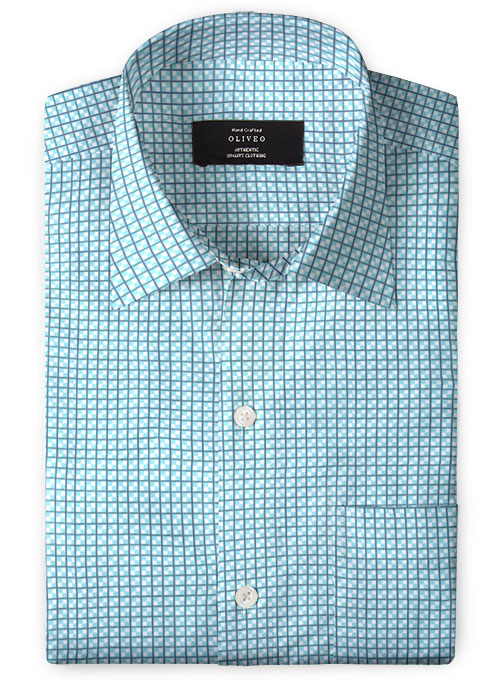 Giza Polo Blue Cotton Shirt - Full Sleeves