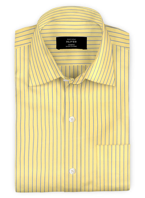Giza Yellow Stripes Cotton Shirt - Full Sleeves