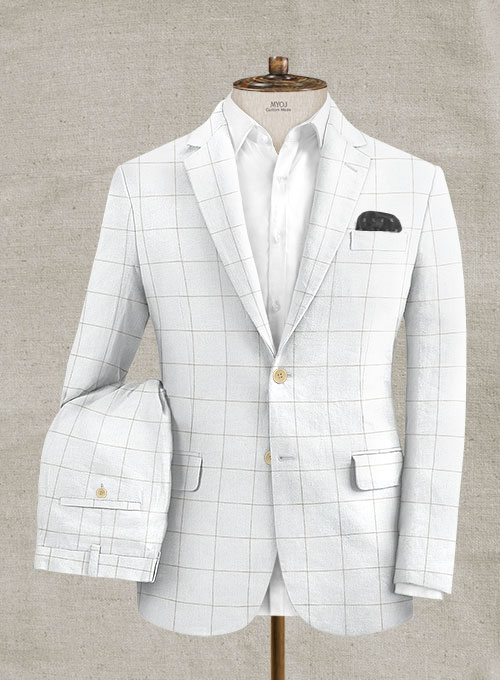 Italian Linen Ecru Big Checks Suit