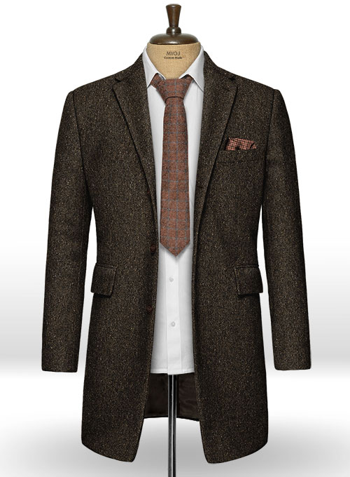 Brown Flecks Donegal Tweed Overcoat