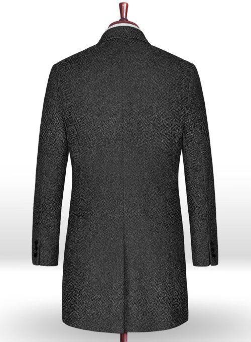 Charcoal Herringbone Tweed Overcoat
