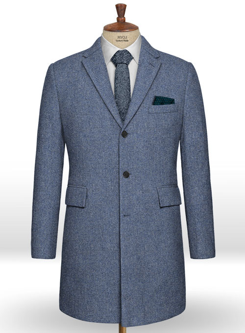 Classic Blue Denim Tweed Overcoat