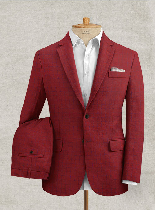 Italian Linen Cherry Red Checks Suit