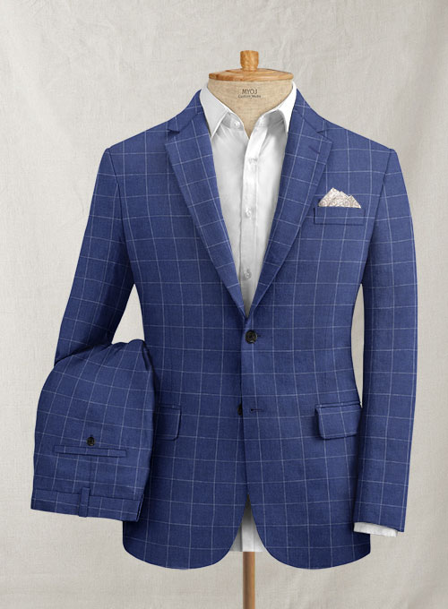 Italian Linen Cobalt Blue Checks Suit