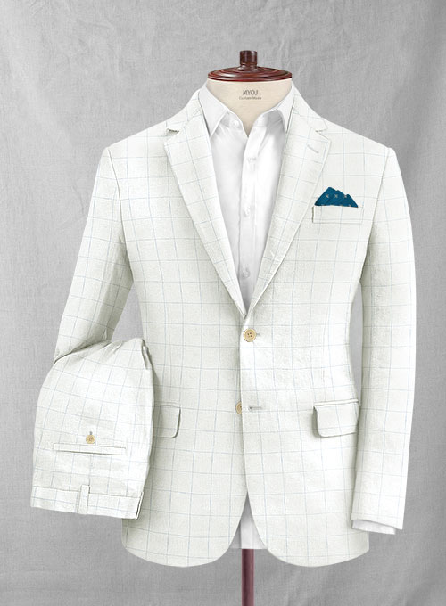Italian Linen Ramoti Ivory Checks Suit