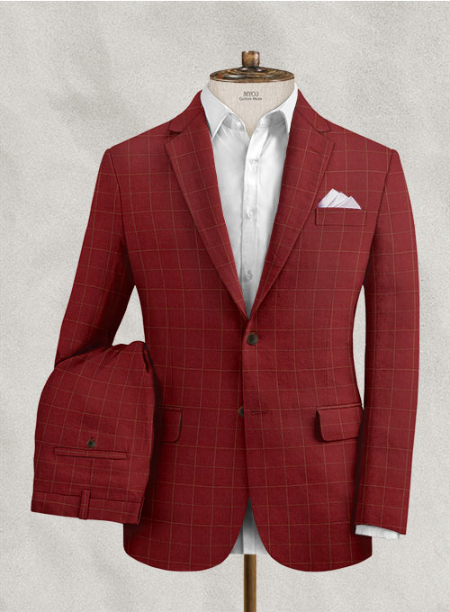 Italian Linen Rosewood Checks Suit