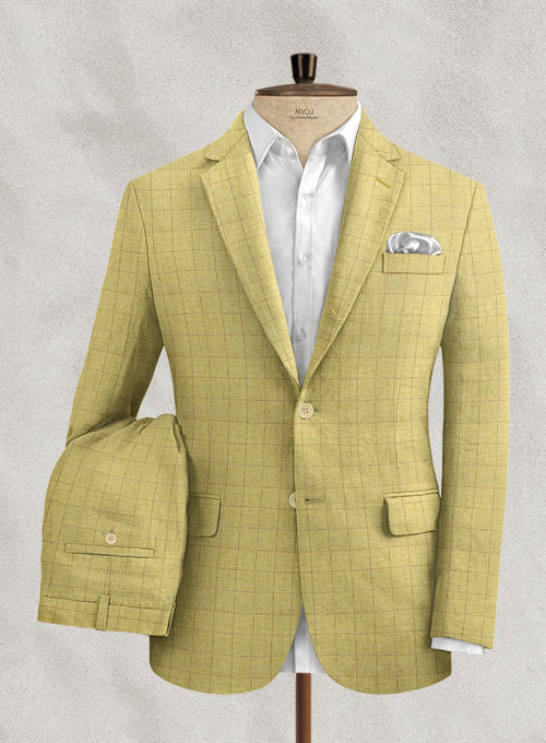 Italian Linen Lomna Yellow Checks Suit