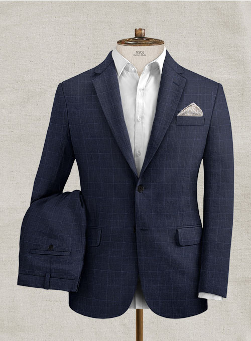Italian Linen Lunia Navy Checks Suit