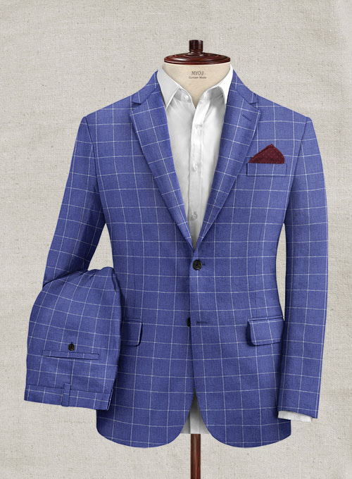 Italian Linen Lapis Blue Checks Suit