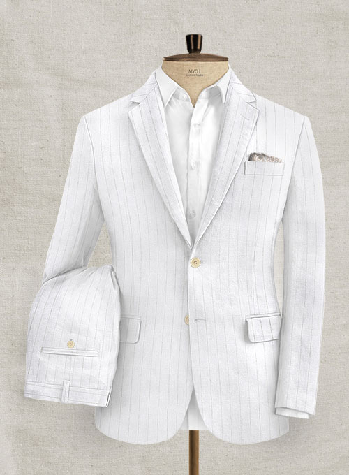 Italian Linen White Stripe Suit