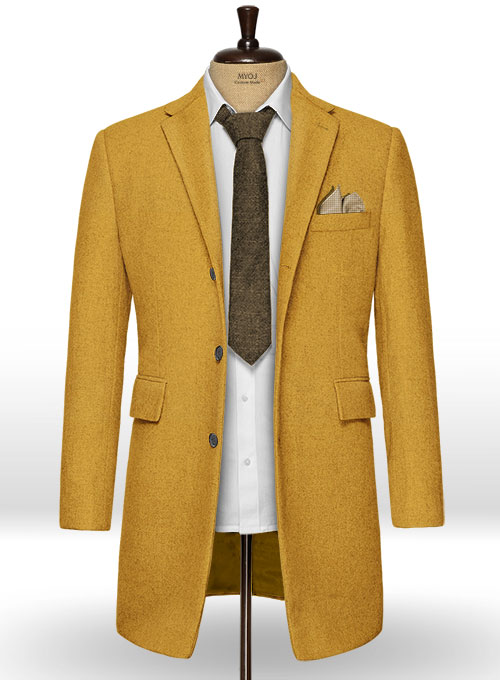 Naples Yellow Tweed Overcoat
