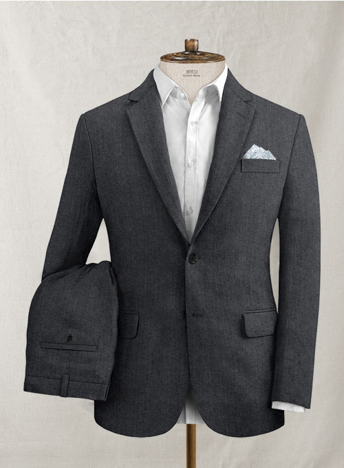 Slate Gray Pure Linen Suit