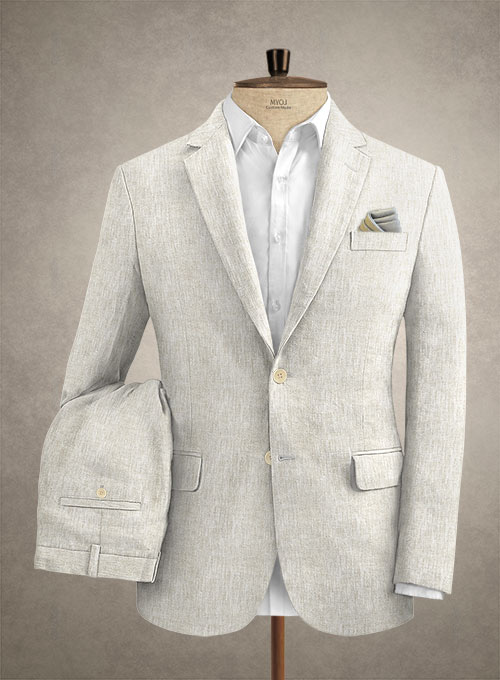 Tropical Beige Pure Linen Suit