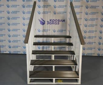 Уличная лестница Оптима 5 ступеней с белыми перилами - 43 200 руб. от Заказ Кровли