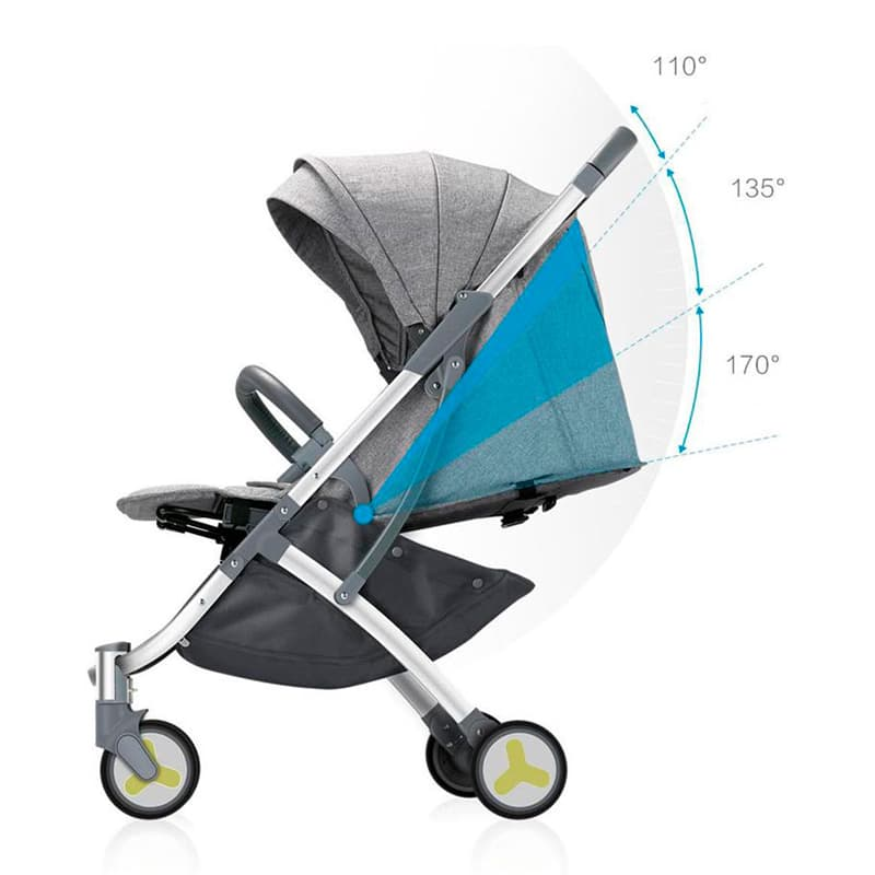 Детская коляска Xiaomi BEBEHOO START Lightweight Four wheeled Stroller Grey