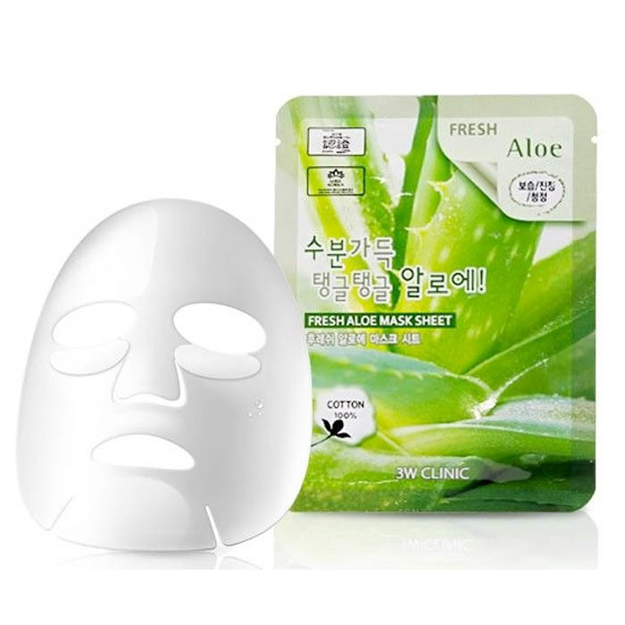3W CLINIC Тканевая маска для лица с экстрактом алоэ Fresh Aloe Mask Sheet